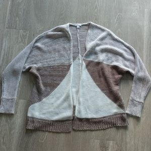 Brown/White Cozy Geometric Sweater - S